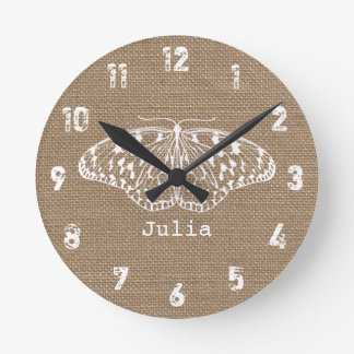 Burlap Inspired Butterfly Clock