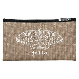Burlap Inspired Butterfly Cosmetic Bag