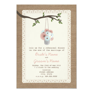 """Burlap Inspired Can Of Daisies Rehearsal Dinner 5"""" X 7"""" Invitation Card"""