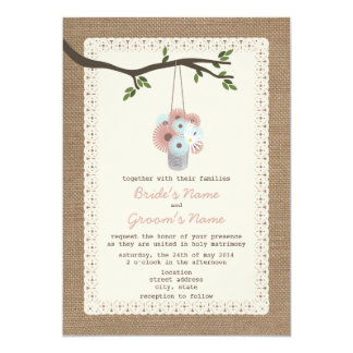 "Burlap Inspired Can Of Daisies Wedding 5"" X 7"" Invitation Card"