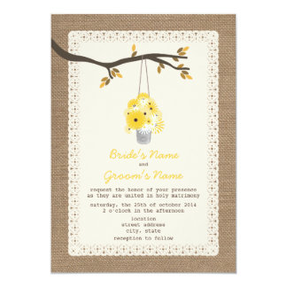 """Burlap Inspired / Can Of Wildflowers Fall Wedding 5"""" X 7"""" Invitation Card"""