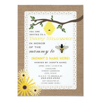 "Burlap Inspired Honey Bee Baby Shower 4.5"" X 6.25"" Invitation Card"