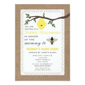 "Burlap Inspired Honey Bee Themed Baby Shower 5"" X 7"" Invitation Card"