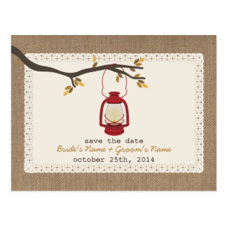 Burlap Inspired Lantern Fall Wedding Save The Date Postcard