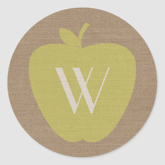 Burlap Inspired Monogram Apple Sticker