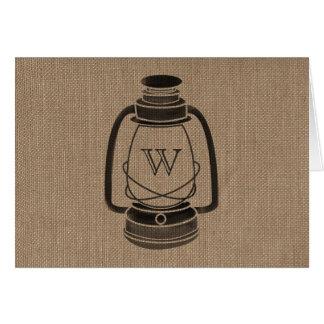 Burlap Inspired Monogram Oil Lantern Notecards Card