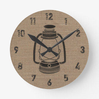 Burlap Inspired Oil Lantern Clock