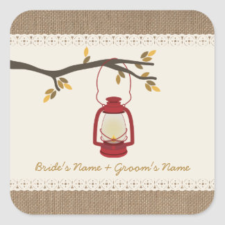 Burlap Inspired Oil Lantern Fall Wedding Sticker