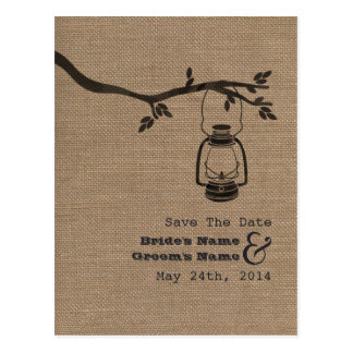Burlap Inspired Oil Lantern Rustic Save The Date Postcard