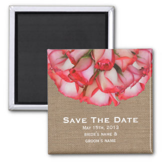 Burlap Inspired Pink Roses Save The Date Magnet