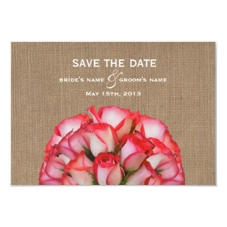"""Burlap Inspired Pink Roses Wedding Save The Date 3.5"""" X 5"""" Invitation Card"""