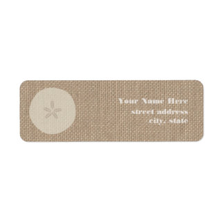 Burlap Inspired Sand Dollar Address Labels