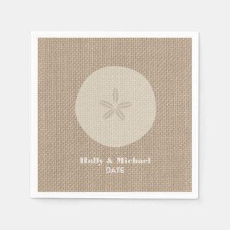 Burlap Inspired Sand Dollar Wedding Napkins Disposable Napkins