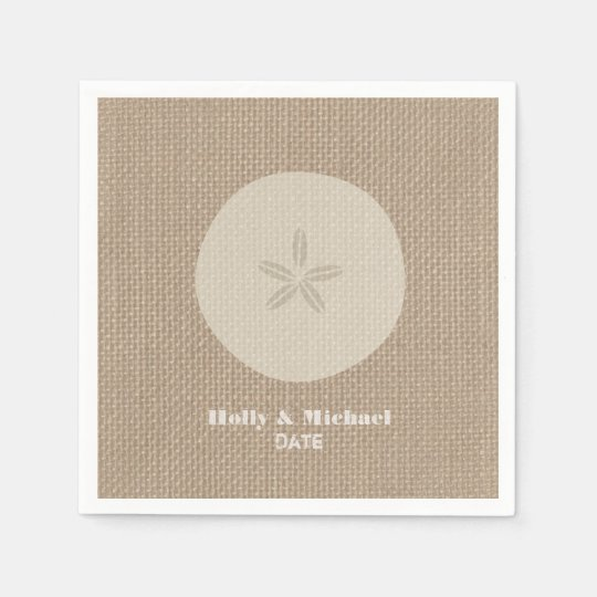 Burlap Inspired Sand Dollar Wedding Napkins Disposable Napkins