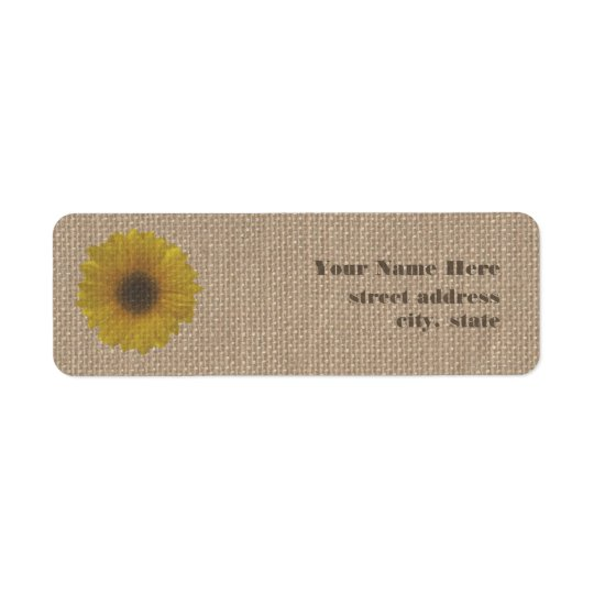 Burlap Inspired Sunflower Address Labels