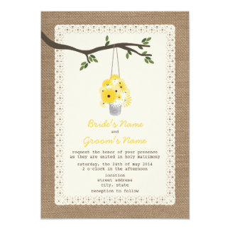 "Burlap Inspired / Tin Can Of Wildflowers Wedding 5"" X 7"" Invitation Card"
