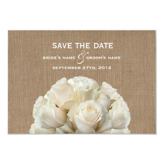 "Burlap Inspired White Roses Wedding Save The Date 3.5"" X 5"" Invitation Card"