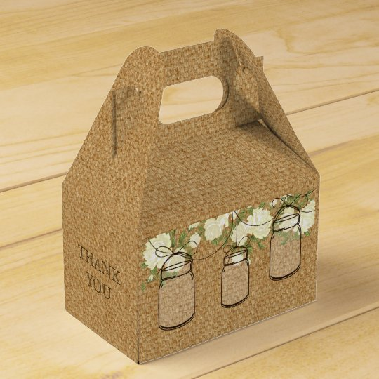 burlap ivory roses mason jar wedding favour box party favor boxes