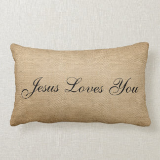 Burlap Jesus Loves You Lumbar Pillow