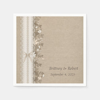 Burlap, Lace and Flowers Paper Napkin