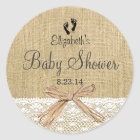 Burlap Lace and Footprints Baby Shower- Favour Classic Round Sticker