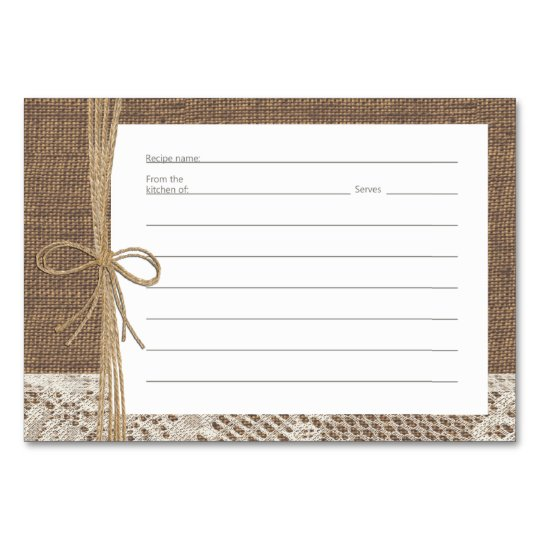 Burlap Lace and Rope Recipe Cards