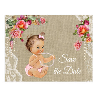 Burlap Lace Baby Shower Save the Date Postcard
