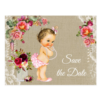 Burlap Lace Baby Shower Save the Date Postcards