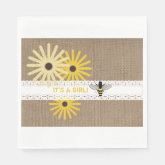 Burlap + Lace Bee Girl Baby Shower Napkins Disposable Napkins