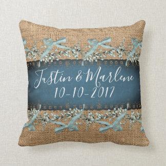 Burlap & Lace & bows Keepsake Anniversary Pillow