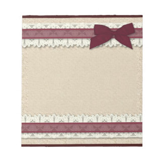 Burlap lace burgundy ribbon bow large notepad