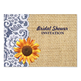 burlap lace country sunflower  bridal shower card