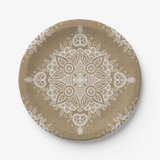 Burlap & Lace Diamond Paper Plate