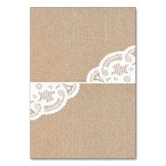 Burlap Lace Doily Wedding Table Place Cards