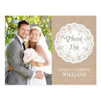 Burlap Lace Doily Wedding Thank You Postcard