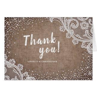 Burlap Lace glitter rustic Wedding thank you Card