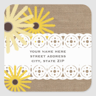 Burlap & Lace Inspired Black Eyed Susans Address Square Sticker