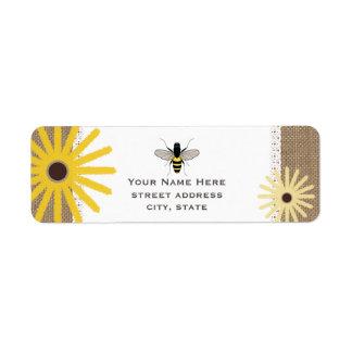 Burlap & Lace Inspired Black Eyed Susans Bee Label Return Address Label