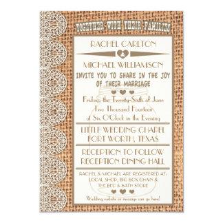 Burlap & Lace Mason Jar Rustic Wedding Invitations