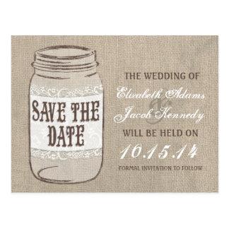 Burlap Lace Mason Jar Save the Date Postcard