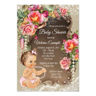 Burlap Lace Pearl Rustic Baby Shower Invitations