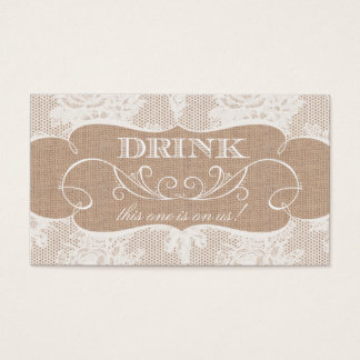 Burlap & Lace Print Wedding Drink Ticket