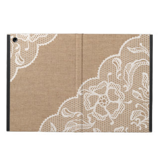 Burlap Lace Rustic Vintage Primitive Design Case For iPad Air
