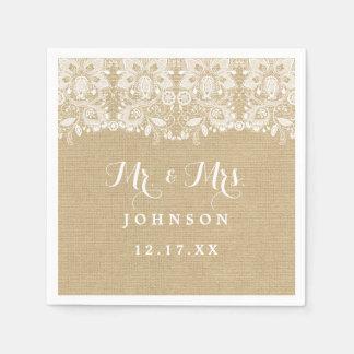 Burlap Lace Rustic Wedding Paper Napkins