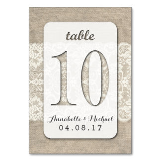 Burlap Lace Rustic Wedding Table Number Card 10