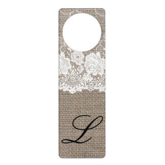 Burlap Lace Shabby Chic Letter L Initial Door Hang Door Hanger