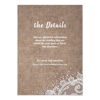 Burlap Lace silver glitter rustic Wedding details Card