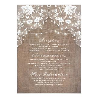 Burlap Lace String Lights Rustic Wedding Details Card