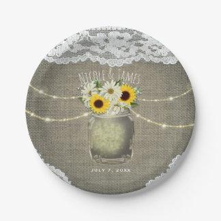 Burlap Lace Sunflowers & Daisies Mason Jar Wedding Paper Plate