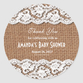 Burlap & Lace Thank You Baby Shower Sticker